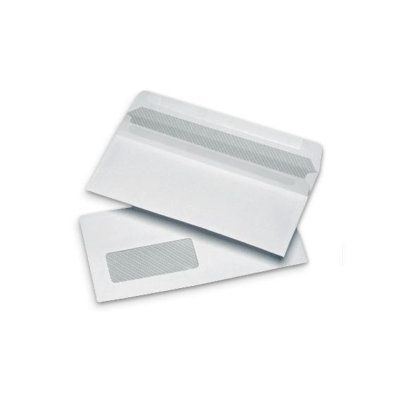 1000 DL 110x220mm 35x90mm Window 19Left 18Up White 90gsm Self Seal Wallet Envelopes